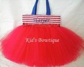 Monogrammed Red White and You Tutu Bag - 4th of July party decorations and bag