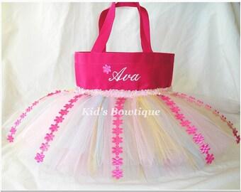 Spring Bouquet Personalized Tutu Bag- Monogrammed Girl Purse- Mini Diaper Bag