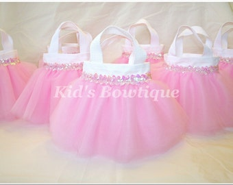 Set of 12 Sweet Baby Pink Sequins Party Favor Tutu Bags
