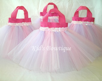 10 Pink and Lavender Party Favor Tutu Bags - birthday party decorations - flower girl tutu gifts