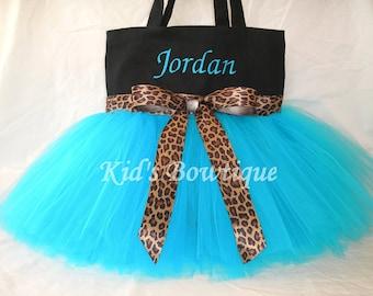 Monogrammed Tutu Tote Bag with Leopard Ribbon - Dance Tutu Tote Bag