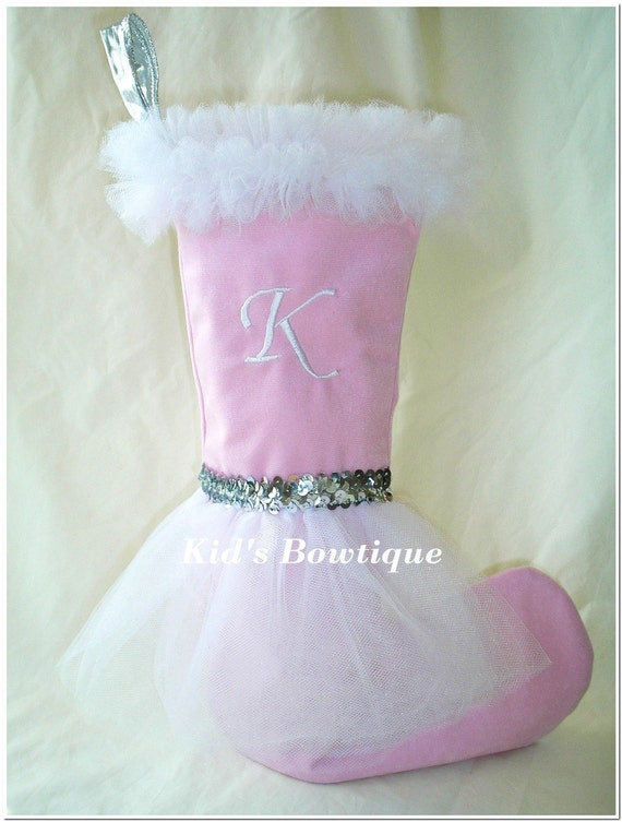 Pink and Silver Tutu Christmas Stocking - Pink Personalized Stocking - Unique Monogrammed Christmas Stocking