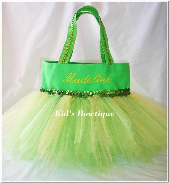 Monogrammed Tutu Tote Bag - Princess Bag for a girl who loves Tinker Bell