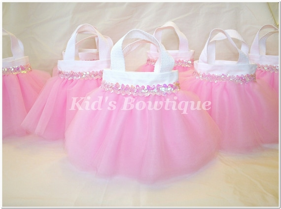 Set of 10 Sweet Baby Pink Sequins Party Favor Tutu Bags