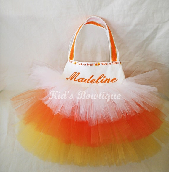 Personalized trick or treat bag - Monogrammed Candy Corn Tutu Bag - Halloween Candy Bag