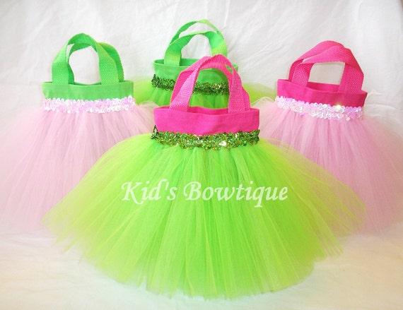 8 Pink and Lime Party Favor Tutu Bags - birthday party decorations