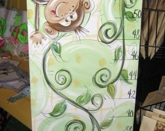 Hand Painted Monkey Growth Chart