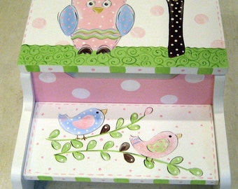 Hand Painted Step Stool Owl and Birdies