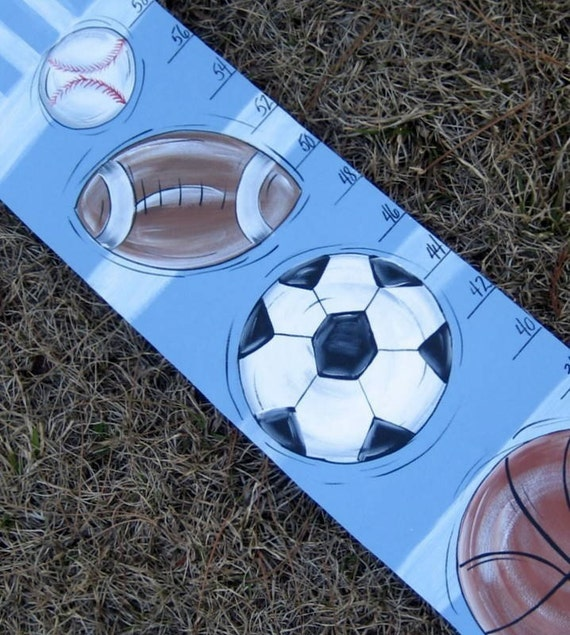 Hand Painted Kid's Sports Balls Growth Chart