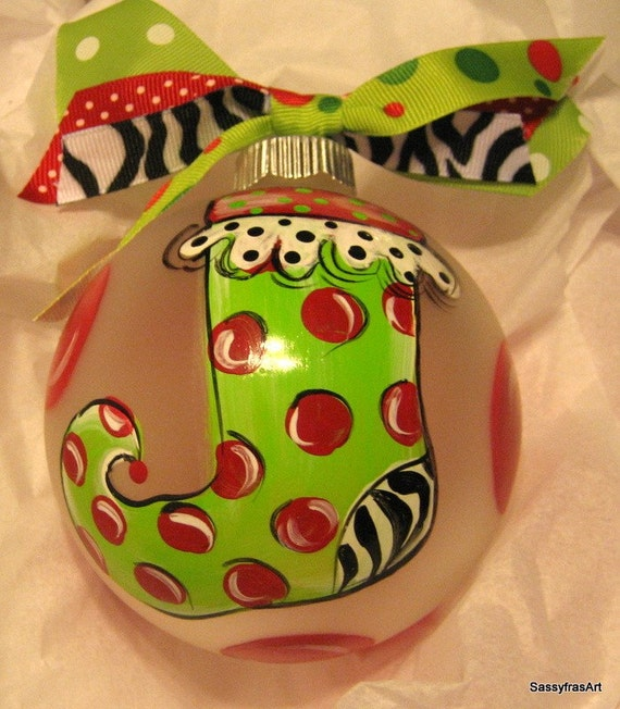personalized christmas ornament hand painted stocking