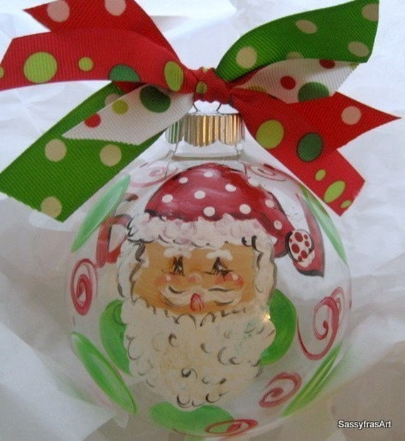 Personalized Christmas Ornament Hand painted Santa