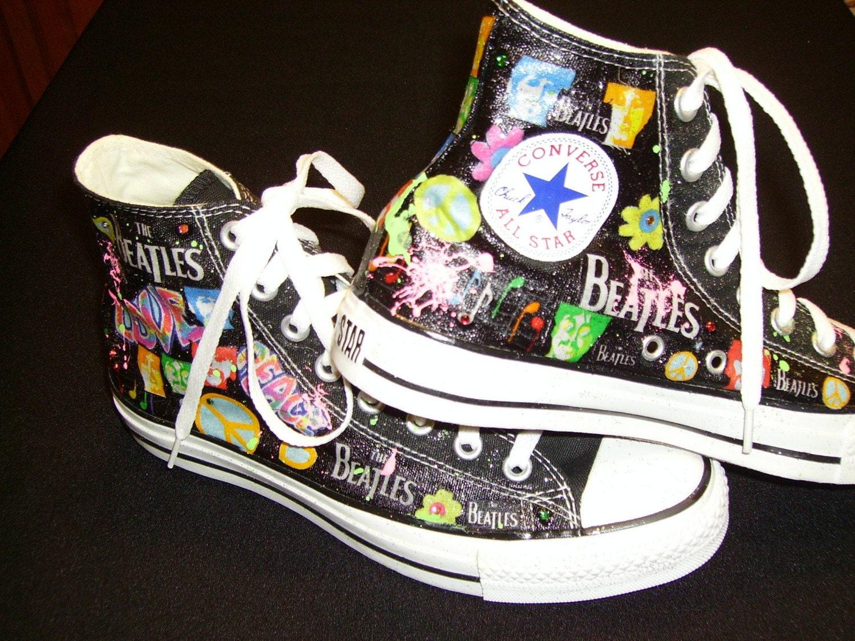 custom tennis shoes high tops the beatles design