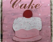 Shabby Cottage Pink Cake 11 x 11 Distressed Wood Kitchen Bakery/Pastry Shop Sign Custom Sign