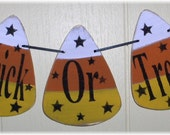 Banner Trick Or Treat Candy Corn Halloween Garland Wood Holiday Decoration Custom
