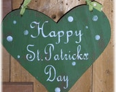Happy St. Patricks Day Heart Green Shabby Chic Cottage Wood Sign With White Polka Dots Custom Colors