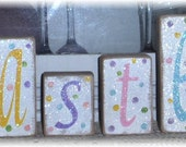 Easter Blocks Set of Six Wood Shelf Sitters Pastel Colors Polka Dots Glitter Custom