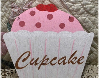 Cupcake Pink & White Sign Custom Kitchen Kids Room Birthday Photo Prop