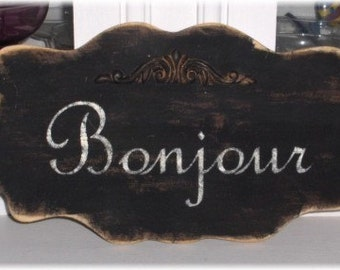 Bonjour Black Large Shabby Cottage Wall Decoration Custom Wood Sign