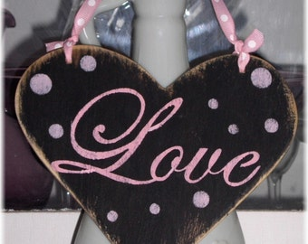 Heart Love Sign Black & Pink Shabby Cottage Heart Love Wood Sign