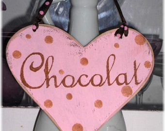 Chocolat Heart Shabby Cottage Chic Pink And Brown Wood Sign
