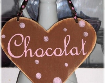 Heart Shabby Cottage Brown And Pink Chocolat Wood Sign Custom