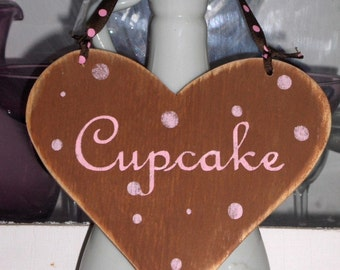 Heart Cupcake Shabby Cottage Brown And Pink Heart Wood Sign