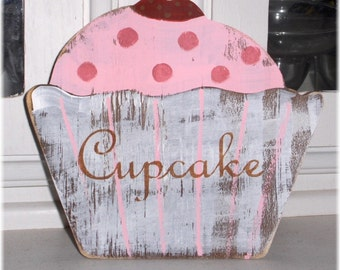 Cupcake Shabby Cottage Pink Shelf Sitter Standing Wood Sign Chic Vintage Inspired Custom Signs Bakery Pastry