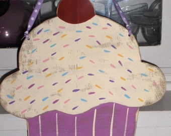 Cupcake Lilac Color Large Wood With Ribbon Hanger