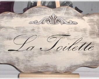 La Toilette Shabby Cottage Cream French Wood Sign