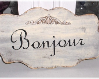 Bonjour Shabby Cottage Cream Large Wall Decoration Wood Sign Custom