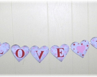 Valentine  I Love You  Banner Garland Hearts Shabby Chic Cottage Red And Pink Wood Custom Colors Sign