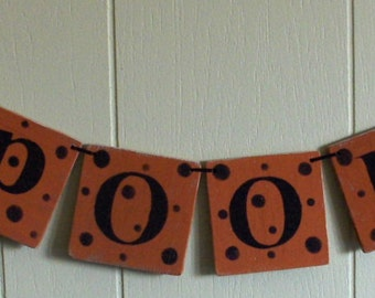 Spooky Banner Halloween Orange Wood Garland Holiday Decoration 4 x 4 Tiles Custom