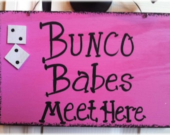 Bunco Dice Pink And Black Wood Custom Game Sign Babes Girls Night