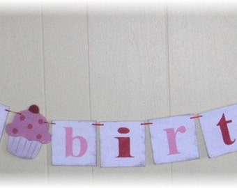 Happy Birthday Banner Garland Cupcake Red And Pink Shabby Chic Custom Wood Sign
