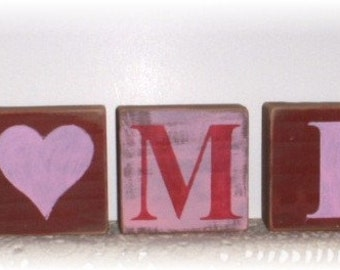 Be Mine Blocks Pink & Red Set of Seven Wood Shelf Sitters Custom Sign