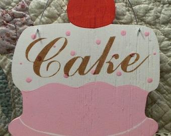 Cake Shabby Cottage Chic Pink Wood Sign Bakery Kitchen Pastry Custom