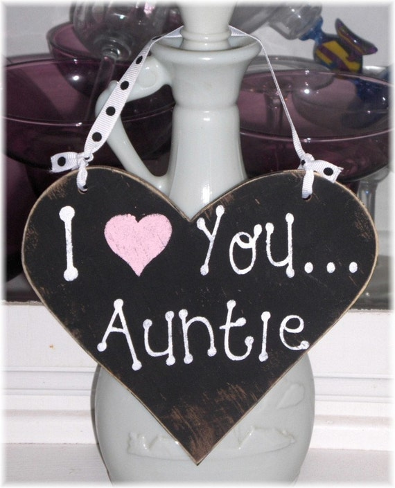 I Love You Auntie Shabby Cottage Chic Black And Pink Wood Heart Sign Custom