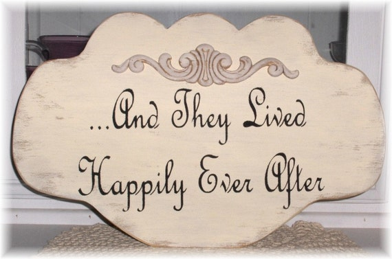 Wedding Sign And They Lived Happily Ever After Cream Shabby Cottage Anniversary