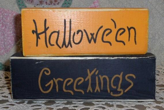 Halloween Wood Blocks Set Of 2 Orange & Black Halloween Greetings Custom Decoration