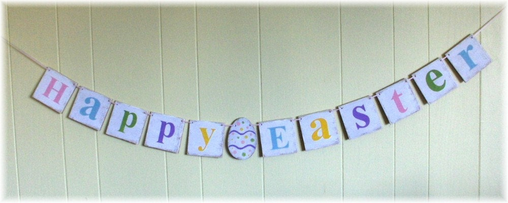 Happy easter banner garland shabby chic egg multi color pink for Shabby chic garland lights