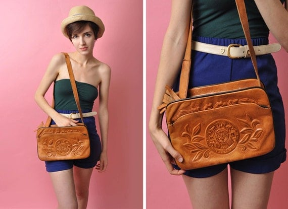 Vintage Boho 1970's Leather Purse