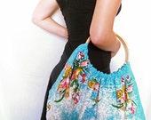 "Unique handmade vintage fabric tote bag - ""Tulip time"""