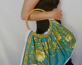 "Unique Handmade Vintage Cotton Fabric Bag - ""A Rose is a Rose"""