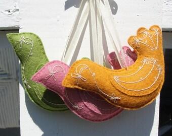 Hand Embroidered Felt Bird Ornaments-Three Fall Colors