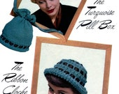 Vintage Pill Box and Cloche hats with bag PDF pattern 1950s Vintage Crochet