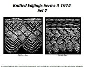 7 Knitted Lace Edgings Needlecraft Series 3 Sets 7, 8 and 9 Vintage knitting pattern circa 1905-1915