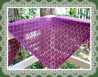 Easy garter stitch diamond lace shawl pattern PDF