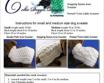 Dog Sweater Knitting Patterns Easy To Knit -Three Patterns in one eBook Vol.2 - Downloadable PDF