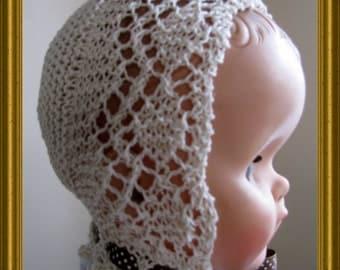 Knitted lace bonnet - Garter Stitch Diamond Lace Baby Bonnet PDF Knitting pattern EASY