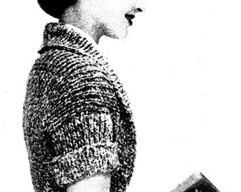 Knitted Shrug 1957 pattern Easy to knit Vintage Mystery Shrug downloadable PDF